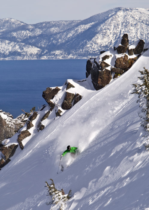 This skier finds new powder and a scenic view of Lake Tahoe at Alpine Meadows, California