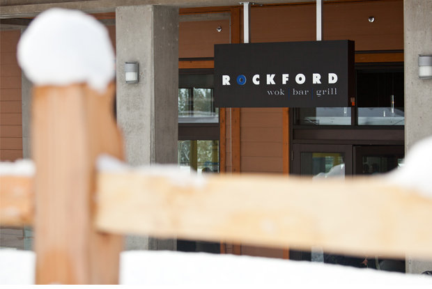 Rockford: Exterior sign beckons skiers off the hill.  - © Revelstoke Mountain Resort