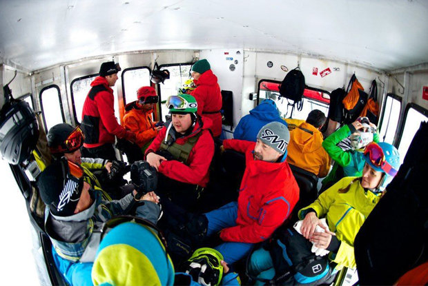 Cozy snowcat ride to powder. - ©Big Red Cats