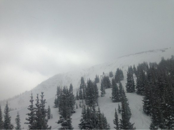Headed back to Parsen's! Getting windy towards the top!