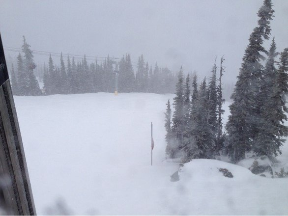 Currently snowing and blowing hard, raining at base