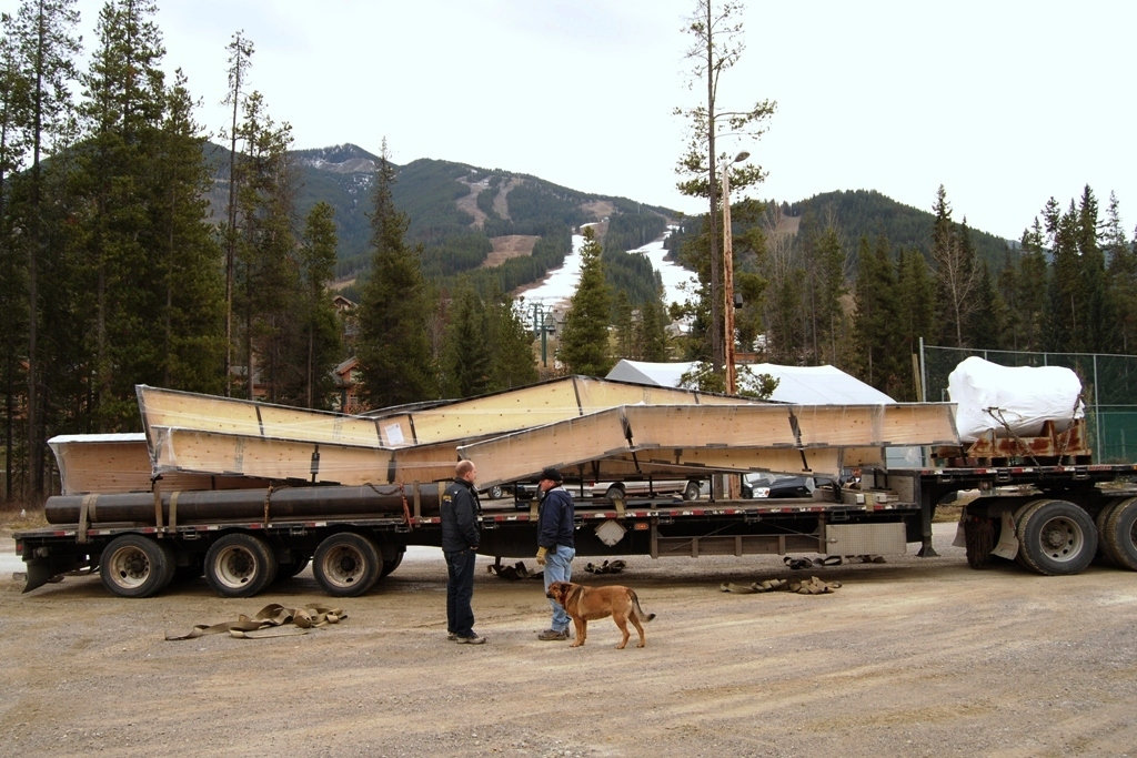 Panorama Mountain Resort, British Columbia taking delivery of some box elements for its terrain park.