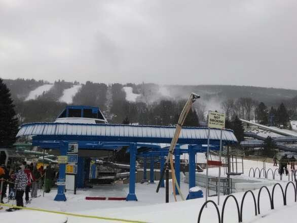 Snow was falling all day and the machines were making snow. Some icy spots but you could get around them.
