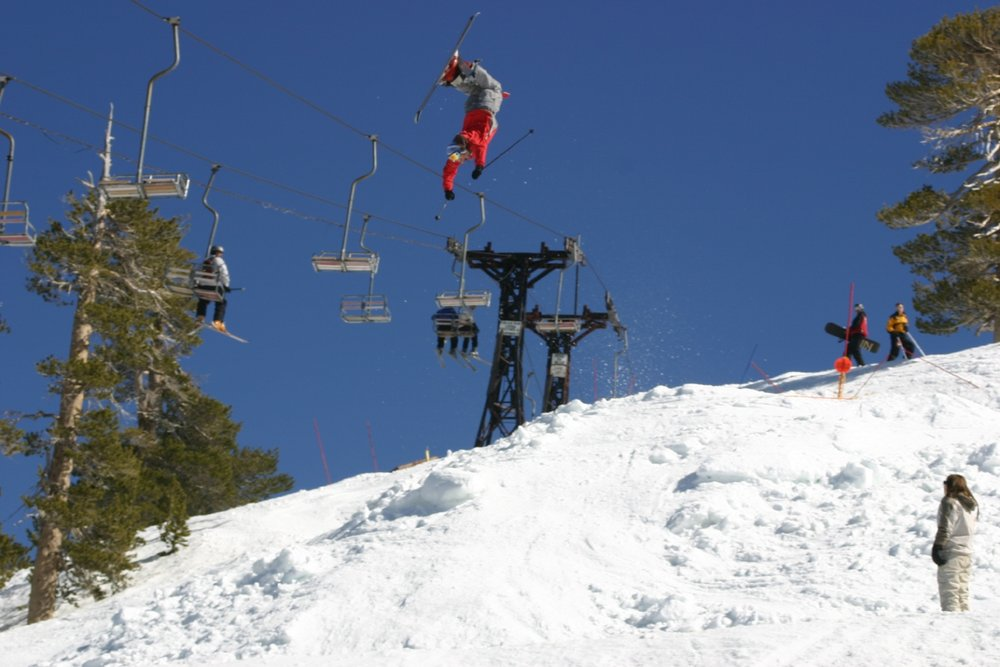 A skier gets big air off a jump at Mt. Baldy Ski Resort, California