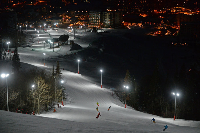 Skiers and riders loving the new night skiing. - © Larry Pierce