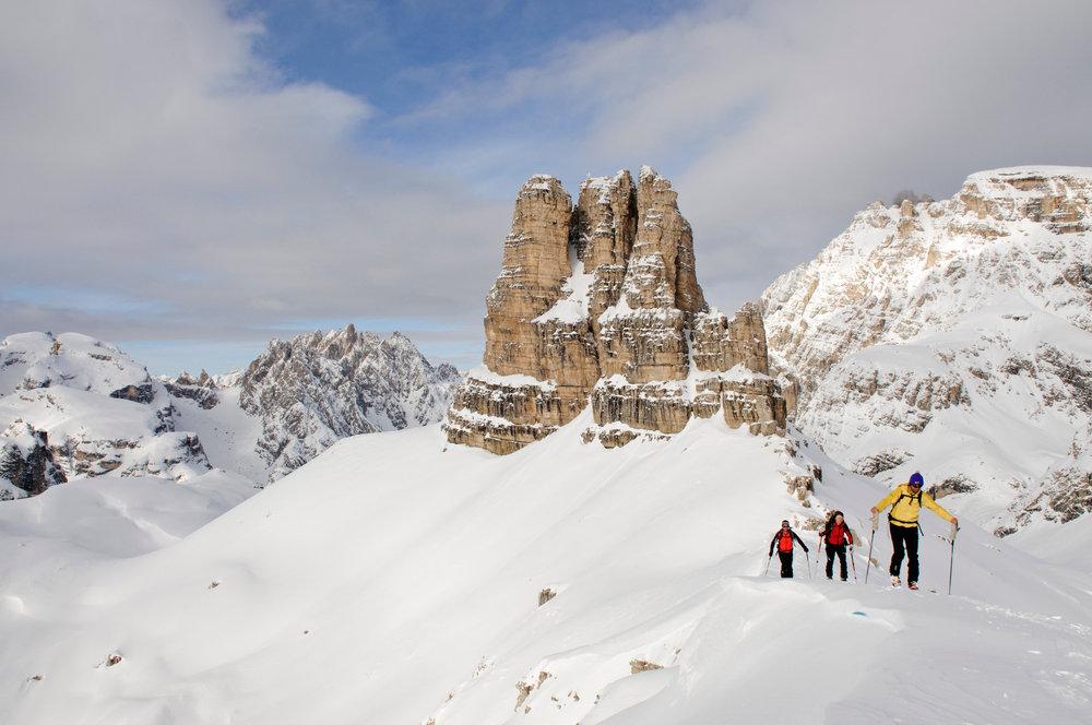Traum eines jeden Skitourengehers: Tolle Bedingungen auf dem Weg zum Sextner Stein - © Norbert Eisele-Hein