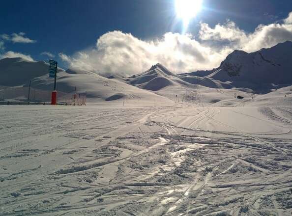 good skiing today - still icy under new snow at lower levels.