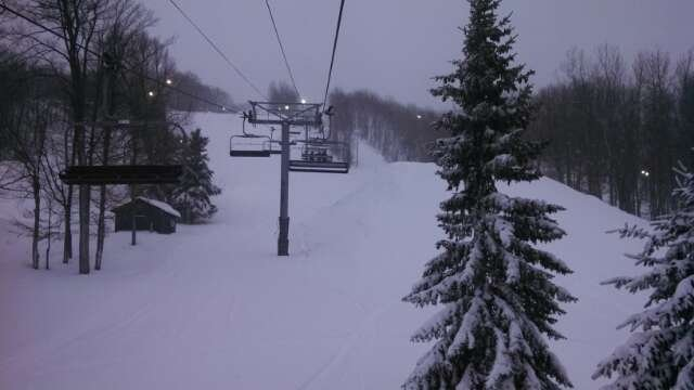 Awesome powder day! Snowed all day! Woods full of fresh powder.