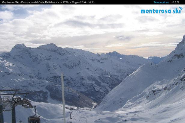 Gressoney La Trinitè - Durante e dopo l'ultima nevicata del weekend | 18-19 Gen 2014