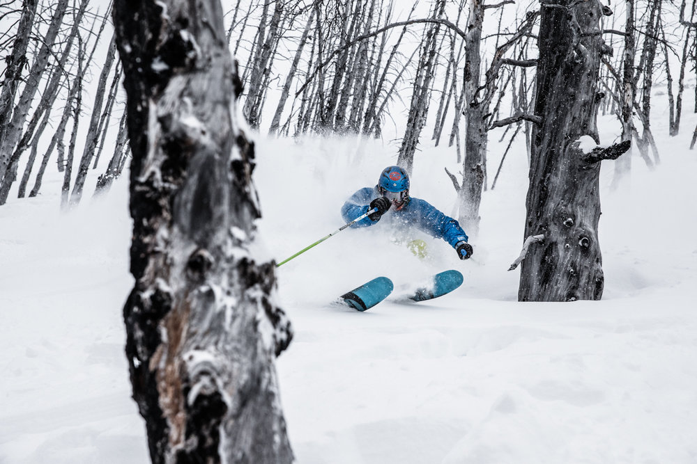 Shredding powder and trees, Casey Bouius is the technical director for Sunshine Village Ski School. - ©Liam Doran