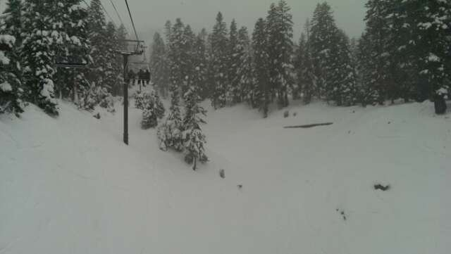 Great conditions all day! No lines! Should be awesome tomorrow. It was dumping down toward the end of the day.