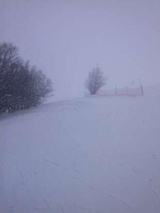 neige Rouillard vent.  1.20 mètre
