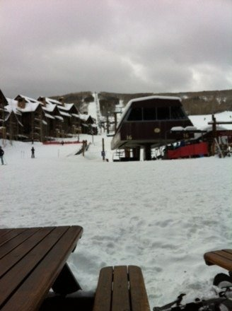 Great snow but crowded because the upper areas are closed from wind