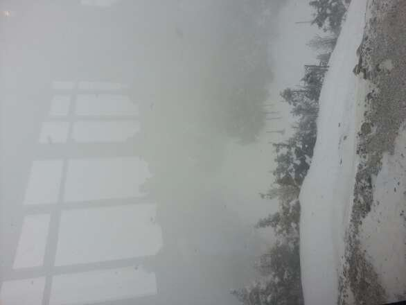 great snow, poor visibility. Get it while the getting is good, view from the k1 lodge