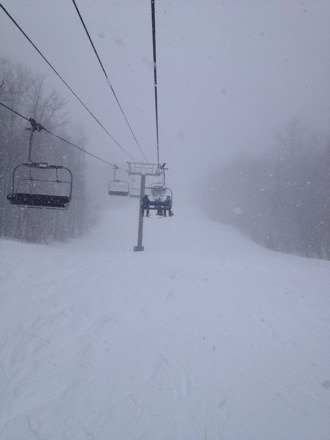 Wowie, wow, wow.  Simply amazing.  Almost 2' of powder, and it snowed another several inches during the day.   Stashes of untracked all day.  Should keep Okemo open until mid- April.