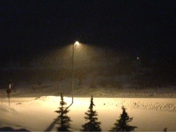 Best night yet in keystone. Snow is just floating down. One inch already and more coming