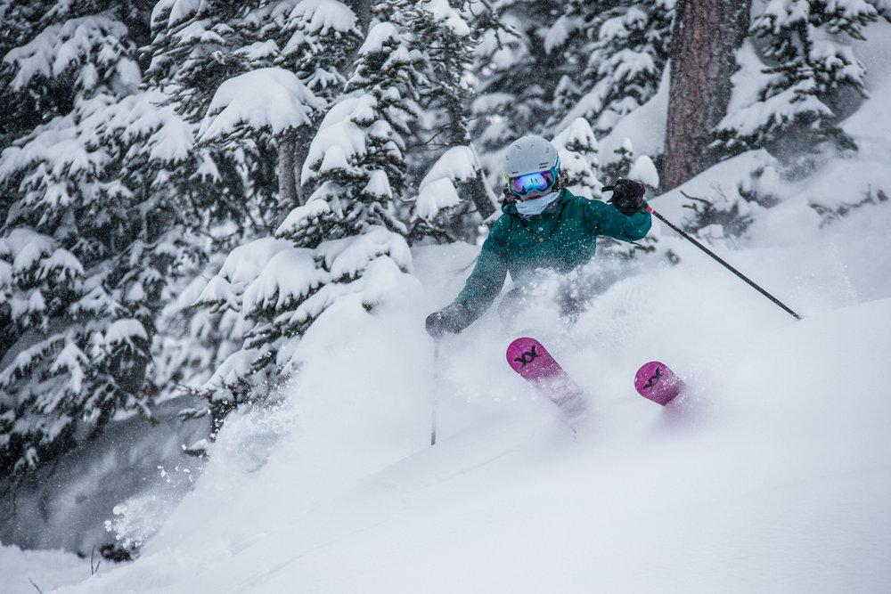 Skier, Kasper Miller enjoying more of the bountiful fluff at Sunshine Village. - © Liam Doran
