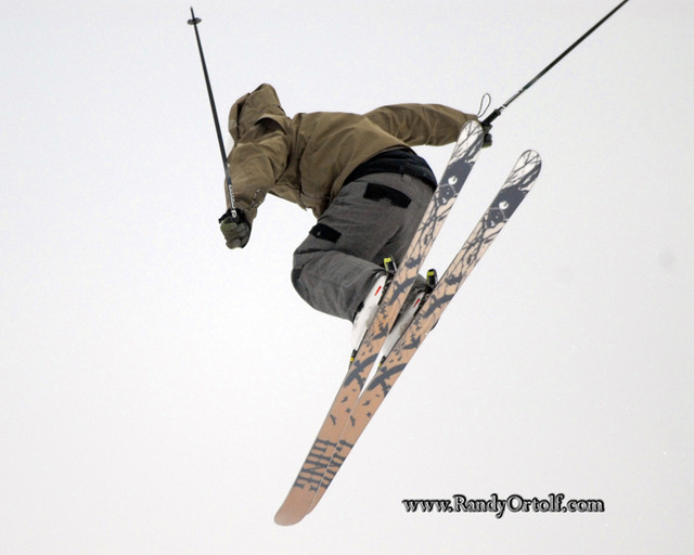 A skier gets air off a jump at Snow Trails, Ohio