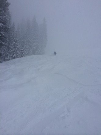 Epic day, low visibility but the shred was super gnar. No one here. There was almost a foot of fresh on my truck when left