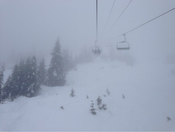 Raining at base and snow in top.
