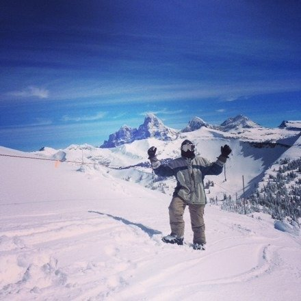 Amazing day to board targhee. Got a lot of face shots Saturday blue bird day couldn't be better!!!