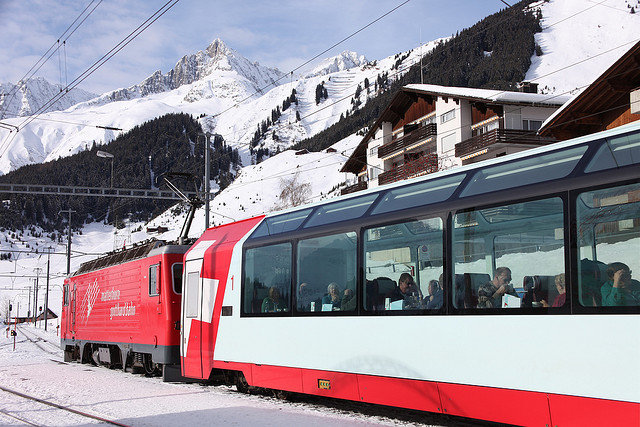 Take a panoramic train ride from St. Moritz on the Glacier Express.  - ©Martha de Jong-Lantink