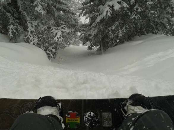 boom, yesterday was insane....straight puking snow, pretty windy but it was so worth it.