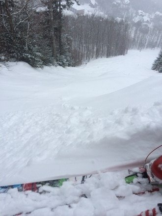 Skied 9 am to 7pm on Friday! Woohoo! Wet soft powder. Almost every run in the glades and double-diamonds was like laying first tracks. Few skiers, lots of room to play. Hard base, yet towards the late afternoon, it became covered with a soft 10cm of snow. 