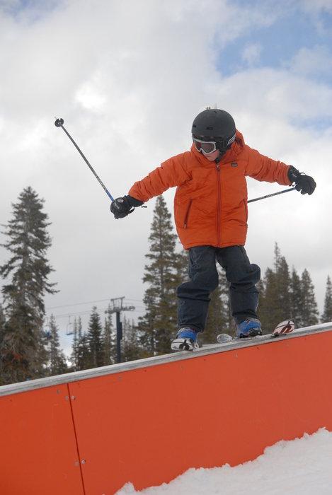 Kid skier at Jeep Terrain Park Clinic, Sugar Bowl