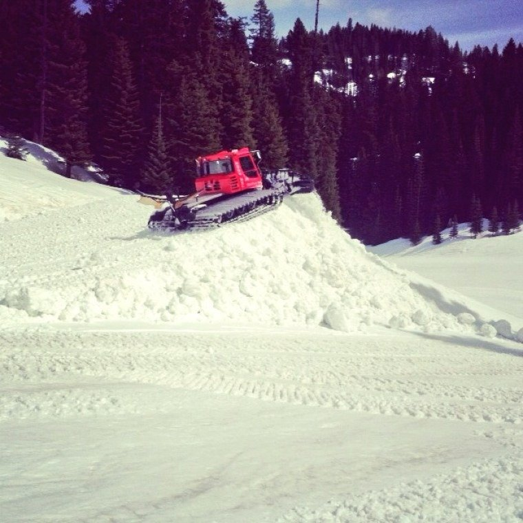 got some hiking in today...sunny and lots of pow up top...plus, park crew was busy building more features