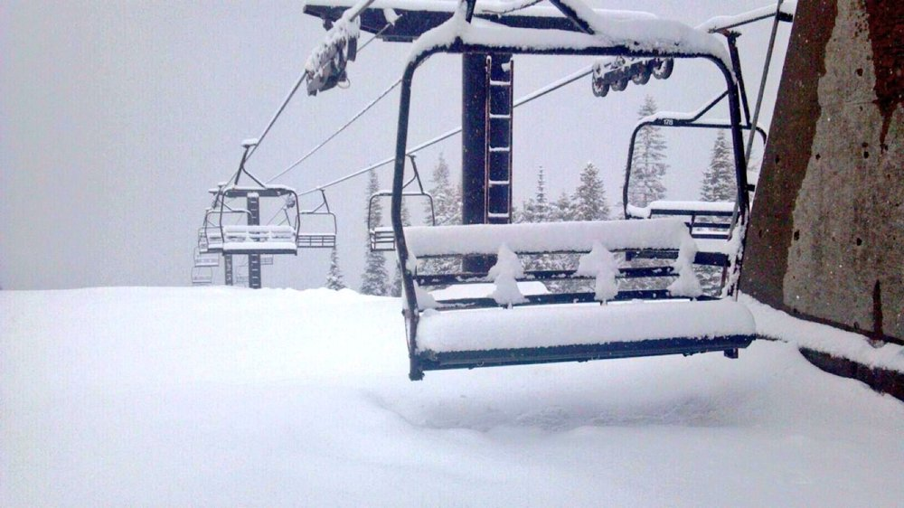 "6"" NEW SNOW over last 36 hours...open today & sunday fir 'bonus days'...going to be great skiing today as i was up yesterday helping set course for king of mountain"