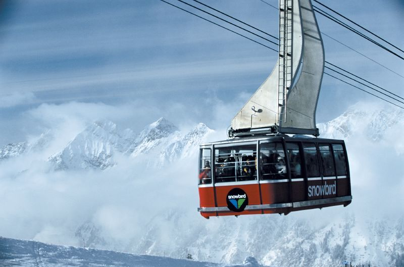 A gondola with a scenic view in Snowbird, Utah