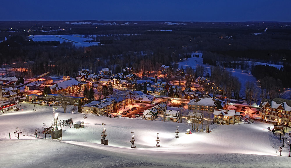 Village lights from Buck slope, Crystal Mountain, Mich. - © Crystal Mountain