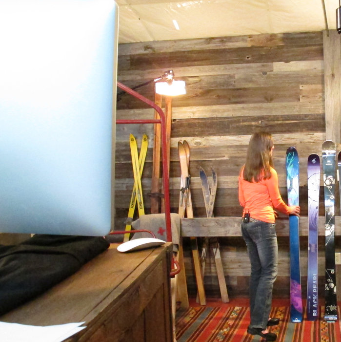 Krista Crabtree on the set of the OnTheSnow Editors' Choice ski review videos. - © Heather B. Fried