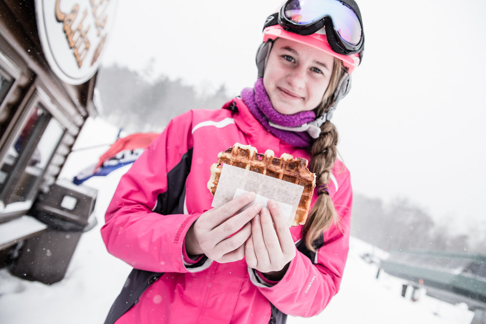 When legs get tired, the savvy skier heads to the base for waffles at Sugarbush. - © Liam Doran