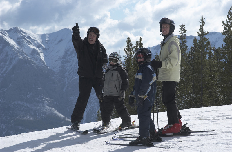 A family enjoying the slopes at Nakiska.