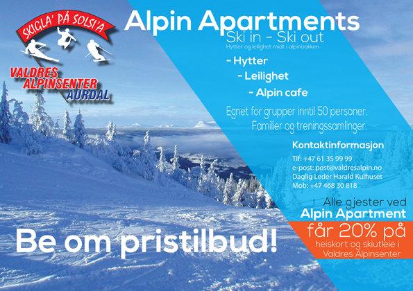 Hytter og leiligheter midt i bakken - © Valdres Alpinsenter