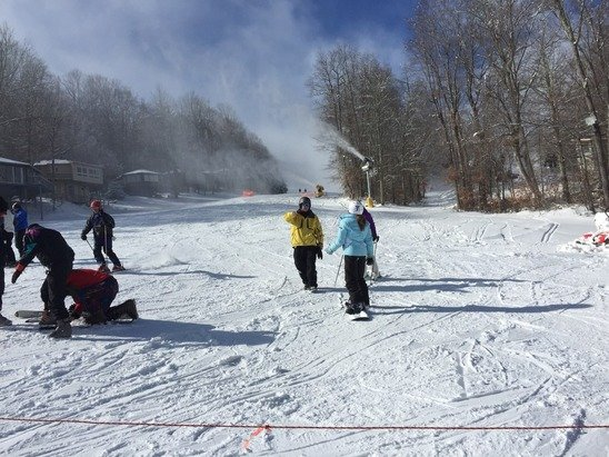 Nice conditions and new run is great, very wide and two good steep sections that are unlike anything else in NC.