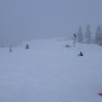 Was still snowing around 4pm today when I left. Super pipe is filled and should be able to be cut in the next few days.