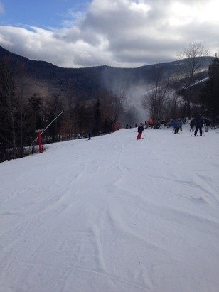 Thin coverage yesterday where they weren't blowing snow, but enjoyable.  Most trails were open!
