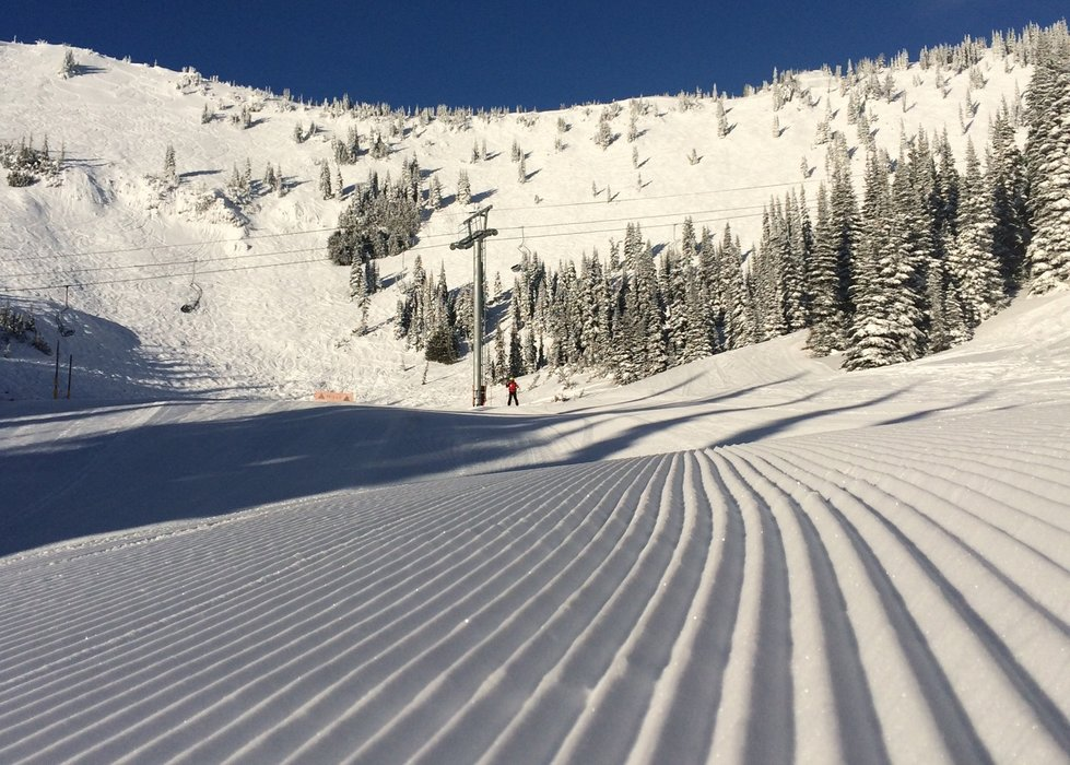 Powdery corduroy on Queens Run at Crystal Mountain Resort on Dec. 26, 2014. - © Kim Kircher
