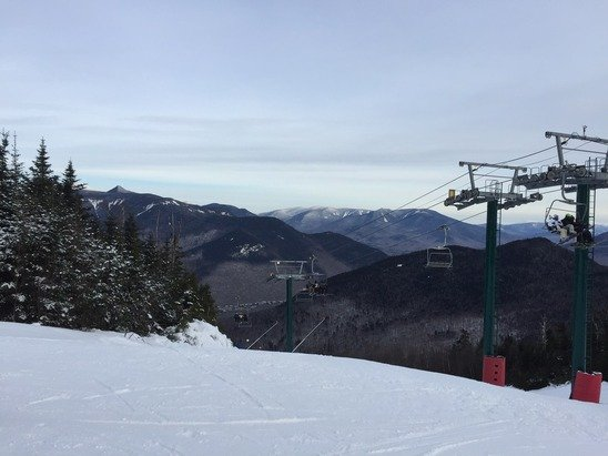 Good amount of man made snow and a little icy but not too bad overall.  Held up pretty good for most of day and wasn't too crowded.