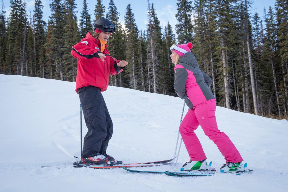 A skier learns the dynamics of turning at Nakiska. - © Kahil April Photography