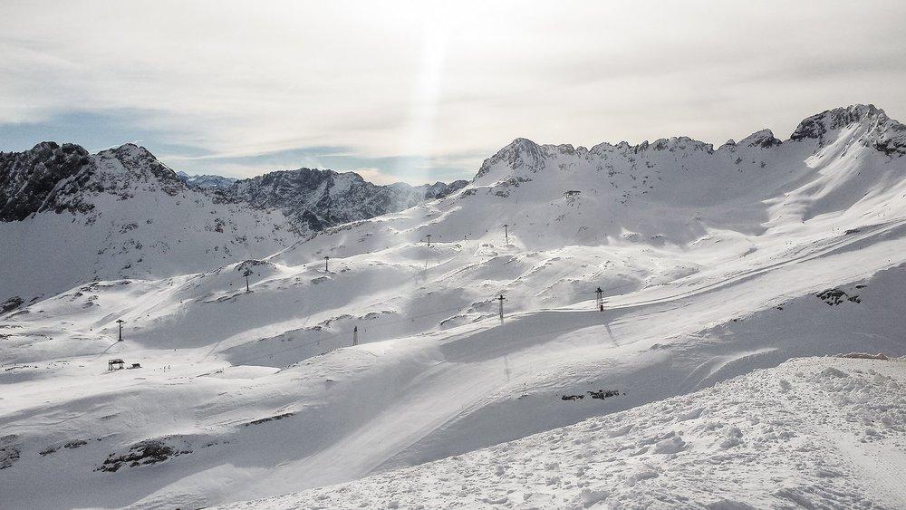 Auf der Zugspitze gab es am 12.1.2015 einiges an Neuschnee zu bewundern