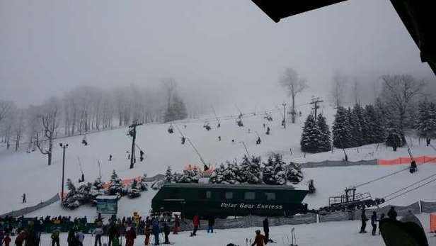 Very foggy and, very flat conditions.  Skiing is awesome if you could see.