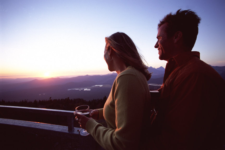Couple at sunset on Mount Bachelor