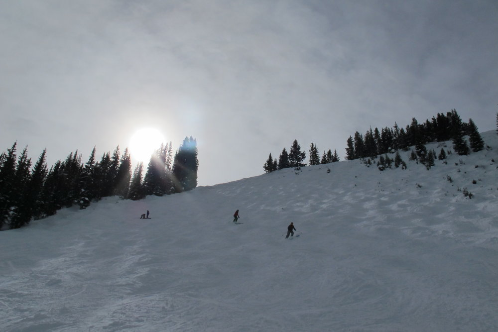 Among the steeper mogul runs we skied, but the whole run was ours for the bumpin. - © Heather B. Fried
