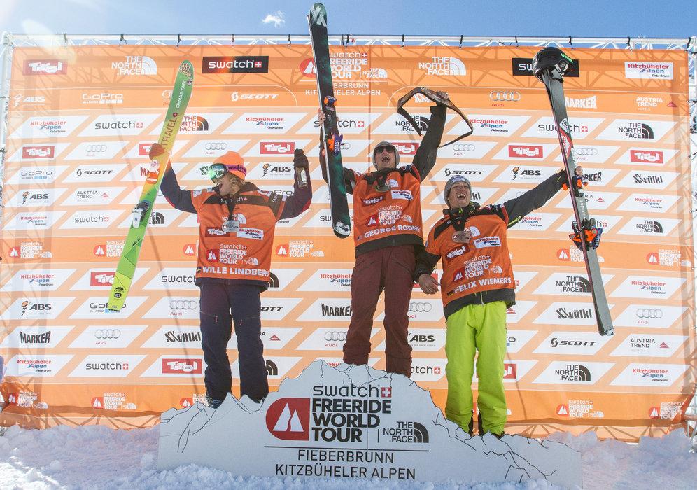 Sieger der Herren (Ski): George Rodney (1.), Wille Lindberg (2.) und Felix Wiemers (3.) - © Freeride World Tour | D. Daher