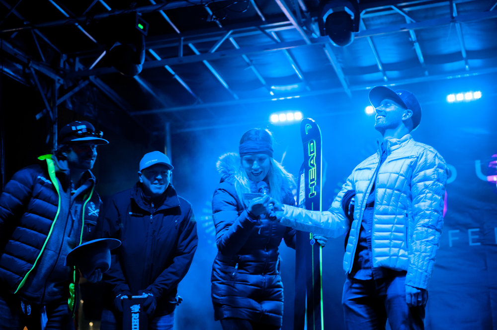 Julia Mancuso giving away HEAD skis at the Spyder Lot Party. - © Ashleigh Miller Photography
