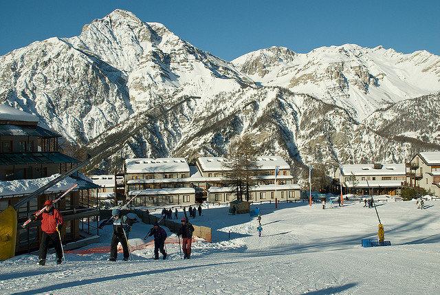 Walking to the ski lift at Sansicario - © Clifton Beard